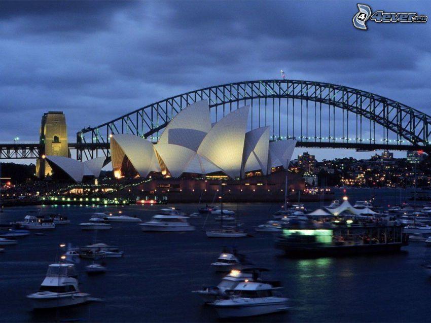 Sydney Opera House, Sydney Harbour Bridge, Australien, stad, yachter