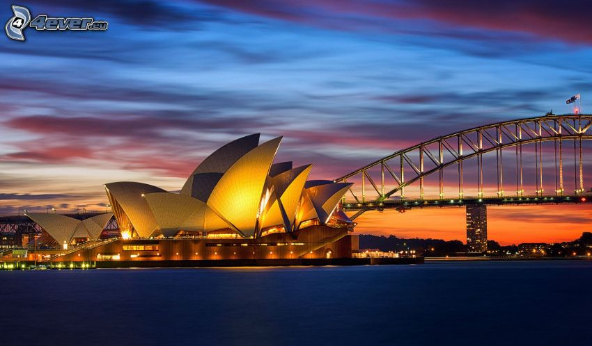 Sydney Opera House, Sydney Harbour Bridge, kvällshimmel, kvällsstad