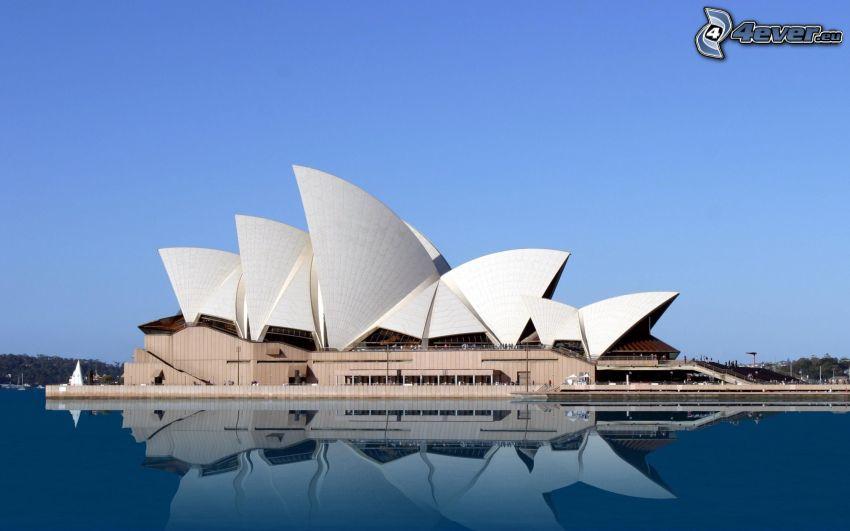 Sydney Opera House, vatten, spegling, Australien