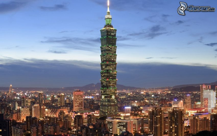 Taipei 101, skyskrapa, stadsutsikt