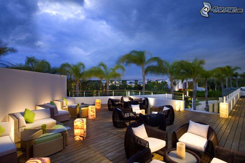 terrass, restaurang, palmer, fåtöljer