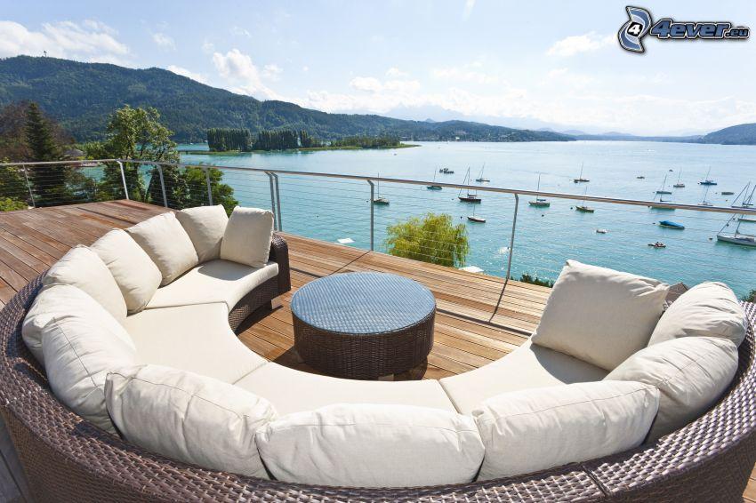 terrass, soffa, hav, fartyg