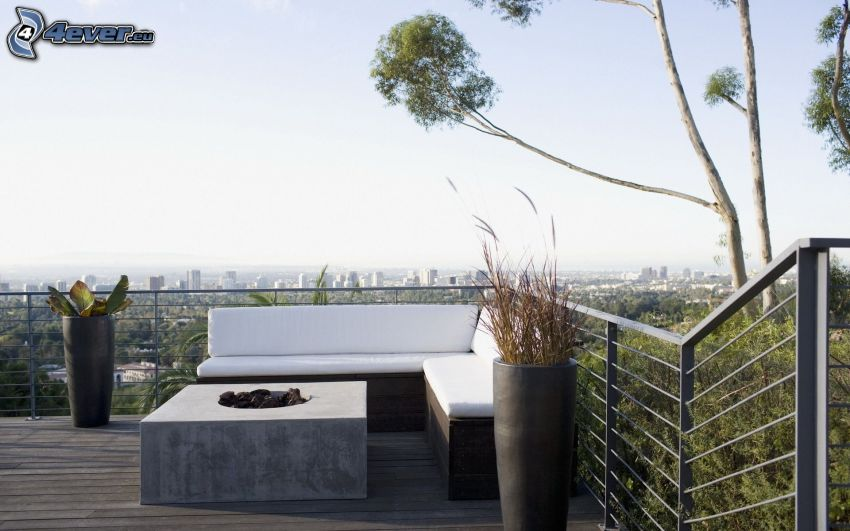 terrass, soffa, stadsutsikt
