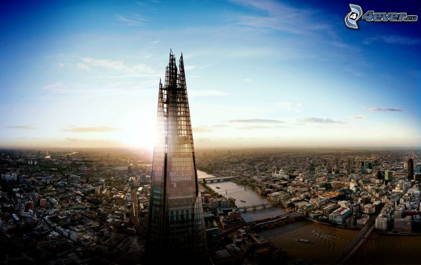 The Shard, London, solnedgång