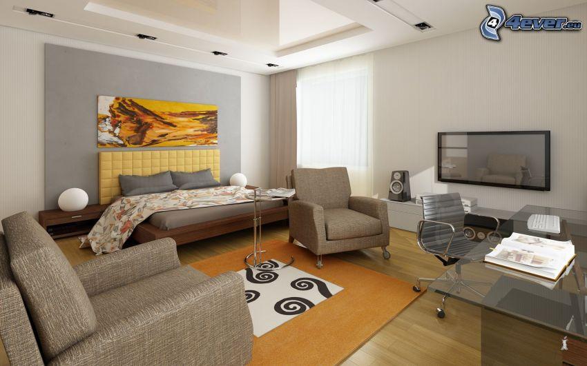 vardagsrum, dubbelsäng, fåtöljer, TV