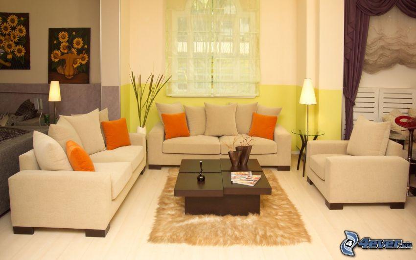 vardagsrum, säte, fönster, bord