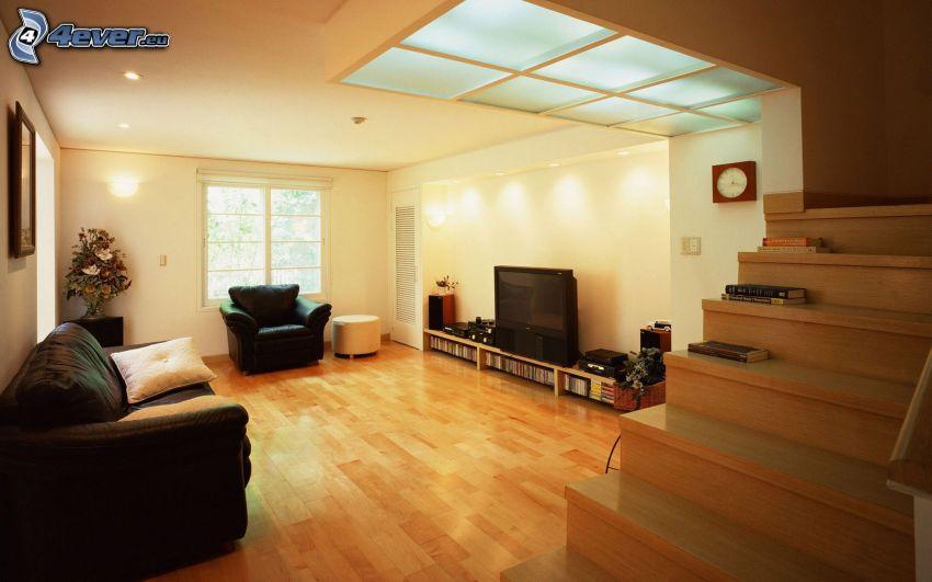 vardagsrum, soffa, TV, trappor