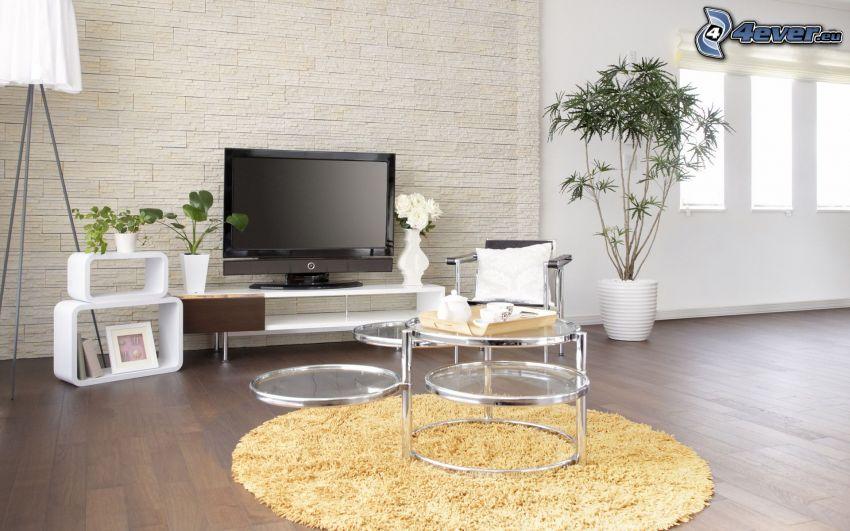 vardagsrum, TV, blommor