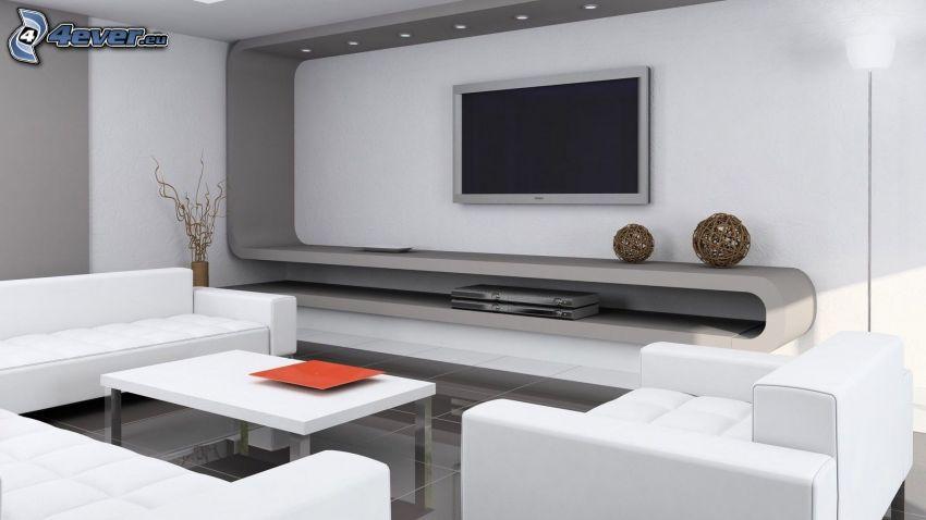 vardagsrum, TV, soffa