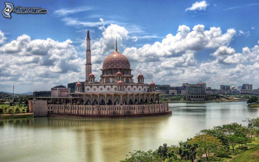 moské, Kuala Lumpur, Malaysia, flod, moln, HDR