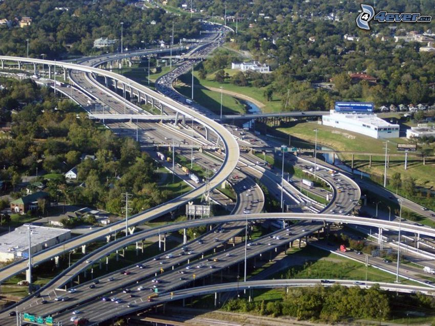 motorvägskorsning, trafik, Houston, Texas, USA