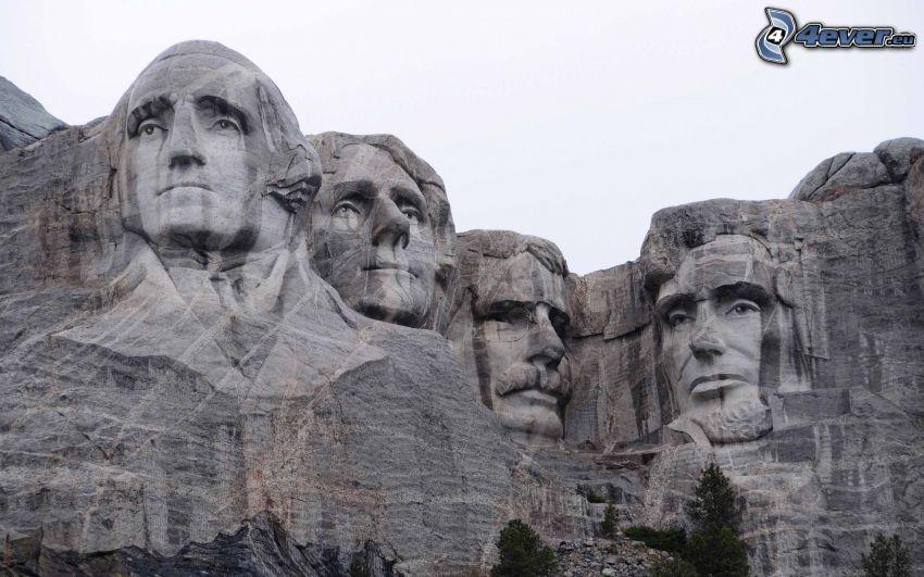 Mount Rushmore, minnesmärke, presidenthuvuden, George Washington, Thomas Jefferson, Theodore Roosevelt, Abraham Lincoln