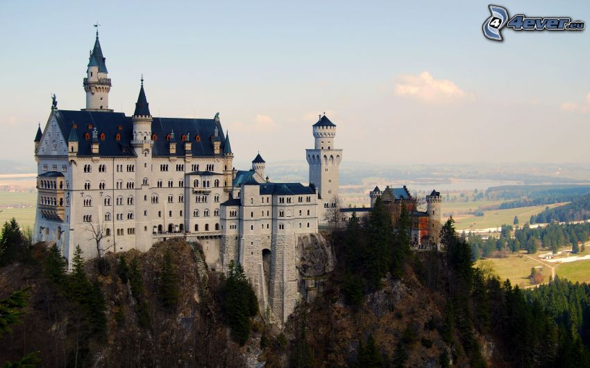 Neuschwanstein slott, Tyskland, utsikt över landskap