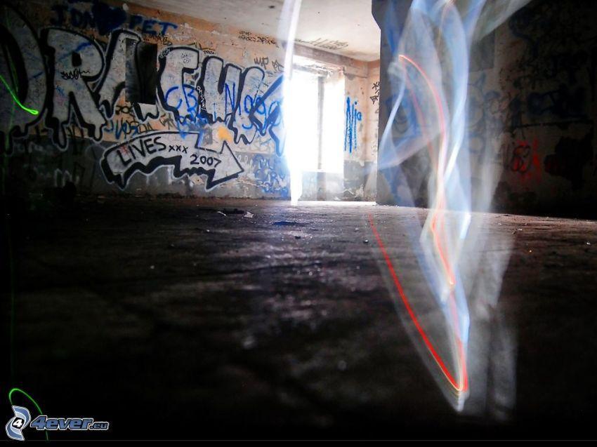 övergiven byggnad, graffiti, rök, interiör