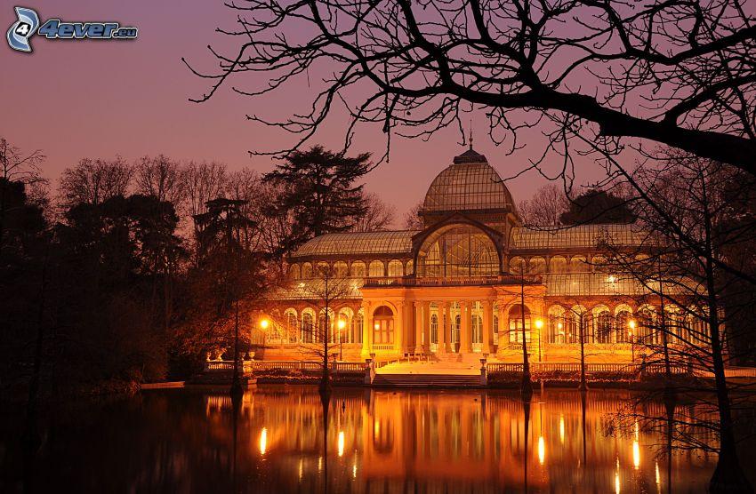 palats, kväll, belysning, sjö
