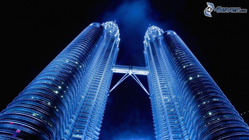 Petronas Towers, natt, skyskrapor
