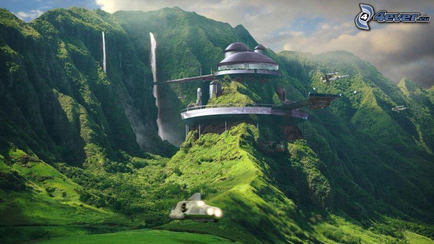 science fiction-landskap, byggnad, höga berg, vattenfall, grönska