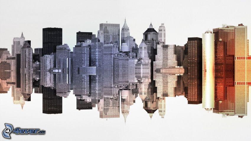 skyskrapor, New York, spegling