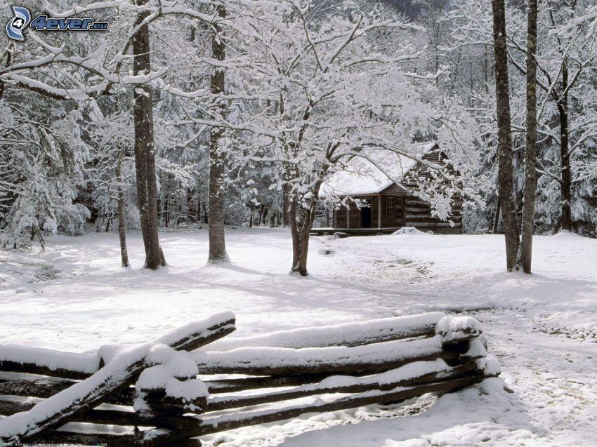 snöig stuga, snöklädda träd, trästaket