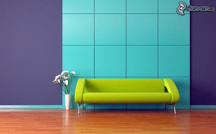 soffa, blommor, vardagsrum
