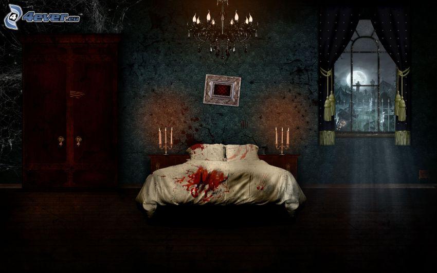 spökhus, säng