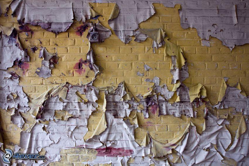 sprucken vägg, gammal mur