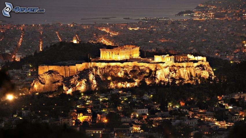 acropolis, Aten, nattstad, belysning