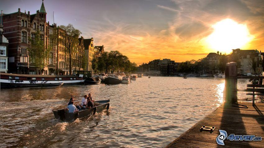 Amsterdam, kanal, fartyg, soluppgång, brygga