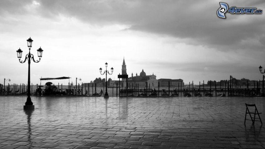 beläggning, hamn, svartvitt foto