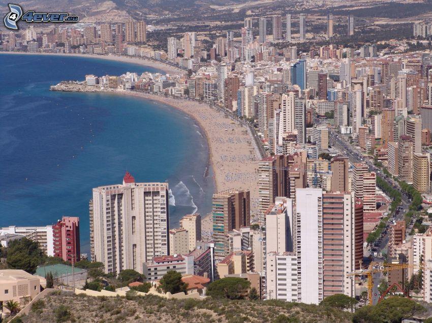 Benidorm, badort, sandstrand, skyskrapor