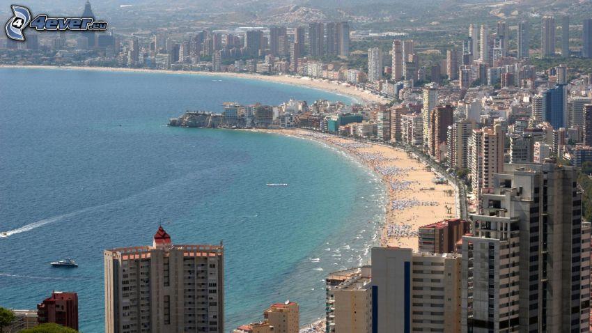 Benidorm, badort, skyskrapor, sandstrand