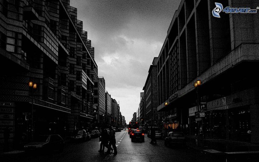 Berlin, kvällsstad, gata