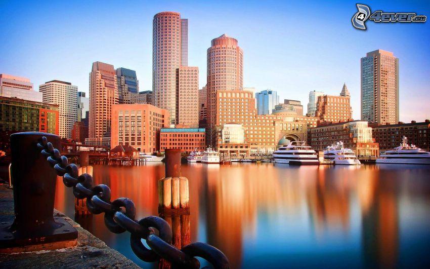 Boston, flod, skyskrapor, fartyg