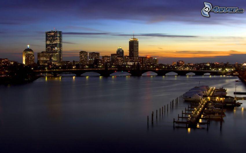 Boston, kvällsstad