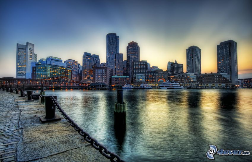 Boston, skyskrapor, HDR