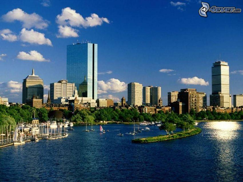 Boston, skyskrapor, yachthamn