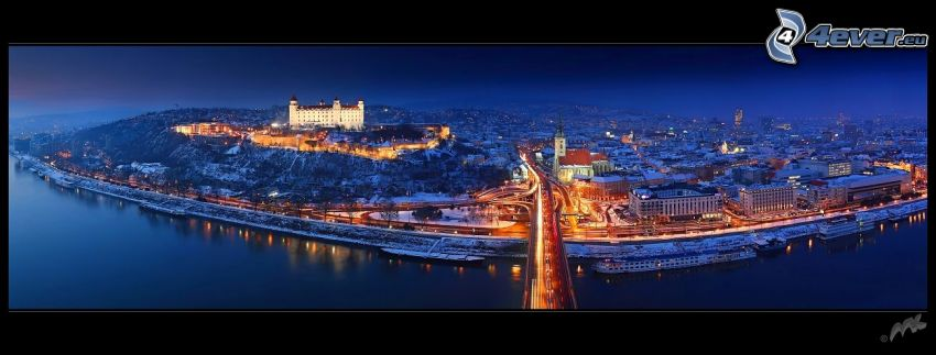 Bratislava på natten, Nový Most, Bratislavas slott, S:t Martins katedral, Donau