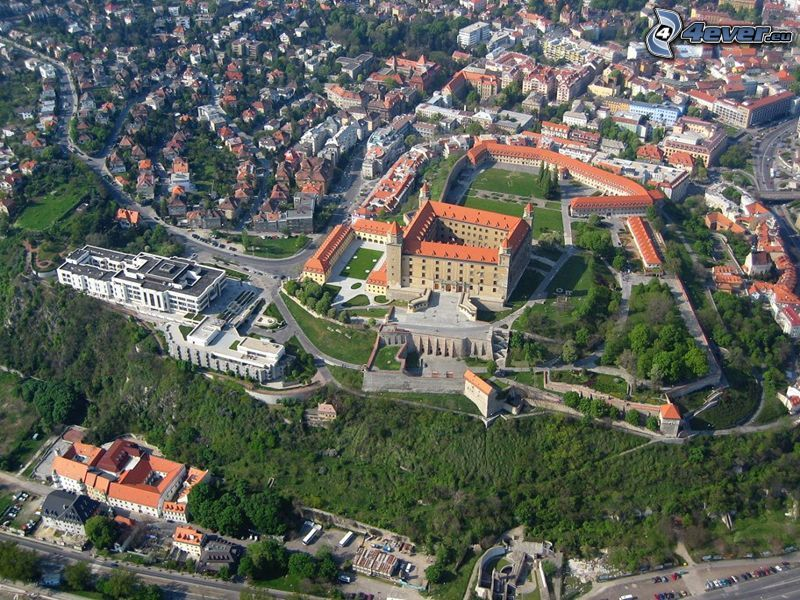 Bratislavas slott, parlament, Bratislava, flygfoto, stad