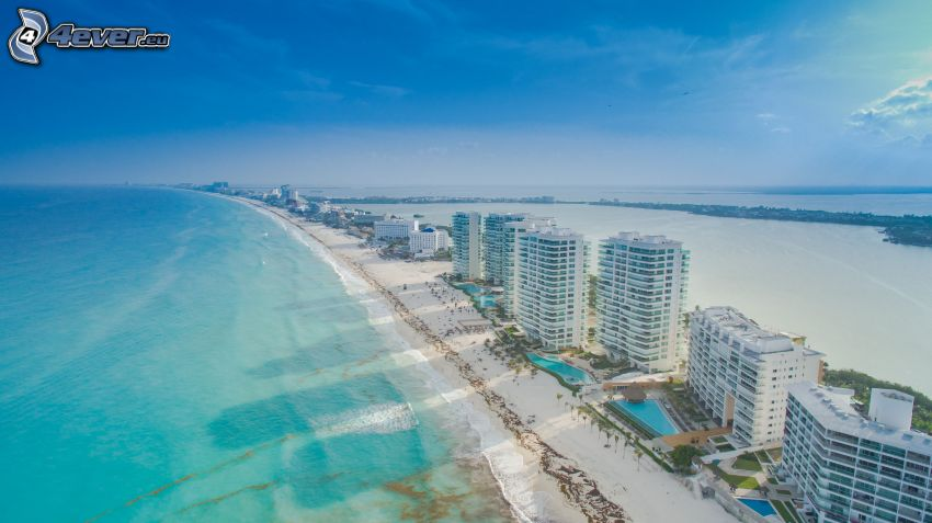 Cancún, badort, sandstrand, skyskrapor, hav