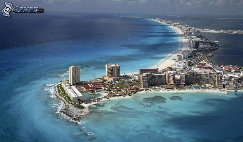 Cancún, Mexiko, kuststad, hav