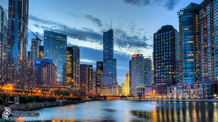 Chicago, kvällsstad, skyskrapor