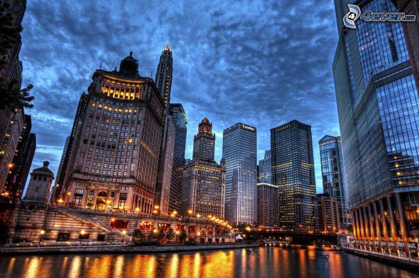 Chicago, skyskrapa, kvällsstad, HDR
