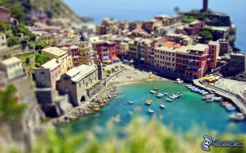 Cinque Terre, Ligurien, badort, yachthamn, hav, diorama