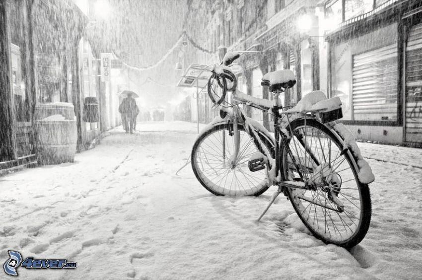 cykel, snöig gata