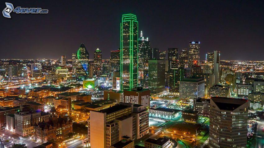 Dallas, nattstad, skyskrapor