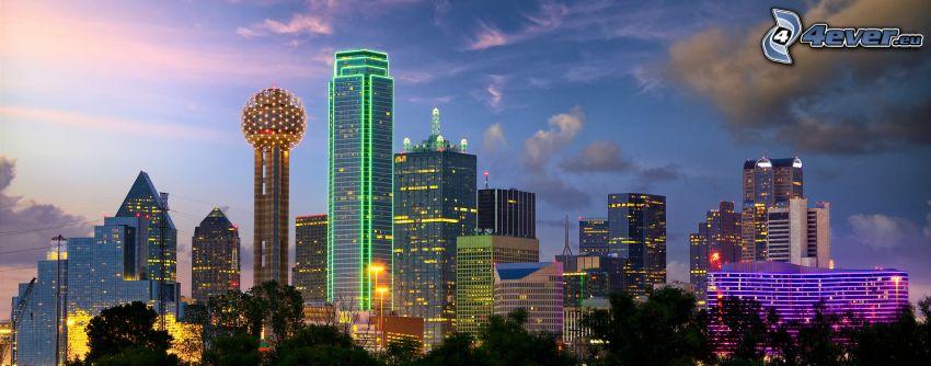Dallas, skyskrapor, kvällsstad