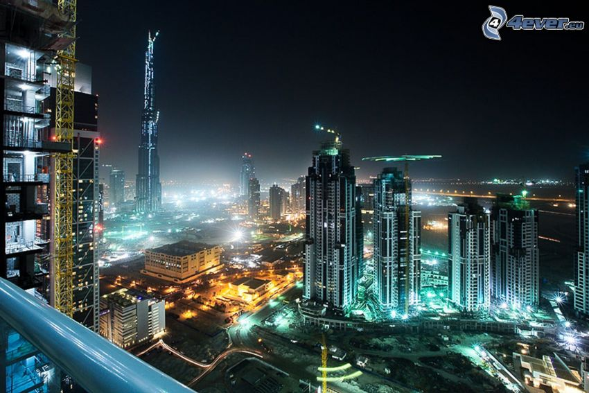 Dubai, Förenade Arabemiraten, skyskrapor, natt, belysning, Burj Khalifa
