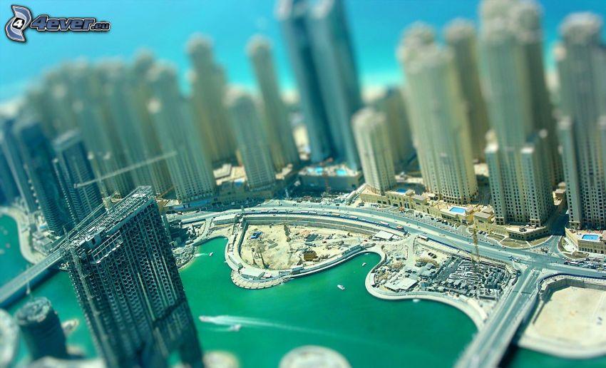 Dubai, skyskrapor, diorama