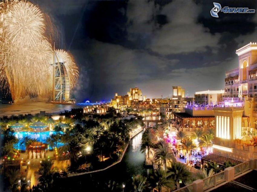 Dubai, stad, fyrverkerier, Burj Al Arab, nyår