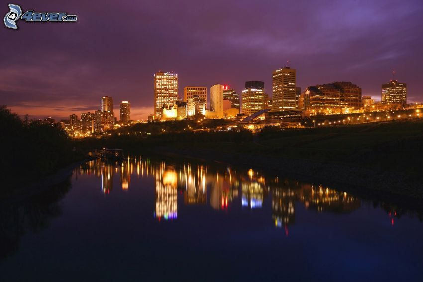 Edmonton, flod, spegling, nattstad